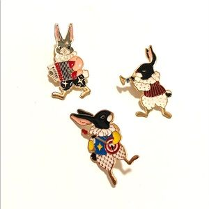 Set of 3 dancing rabbits musicians bunny musicians